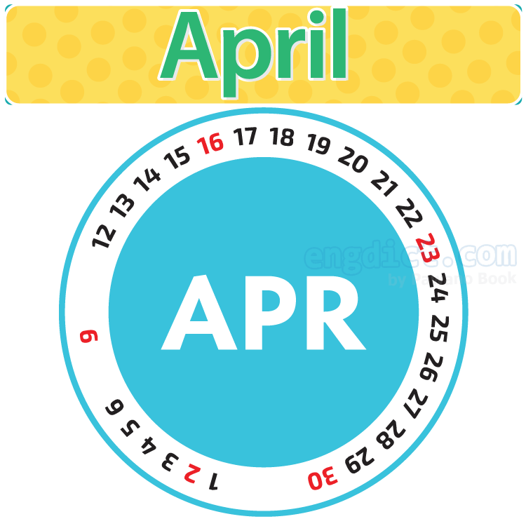 April แปลว่า เดือนเมษายน