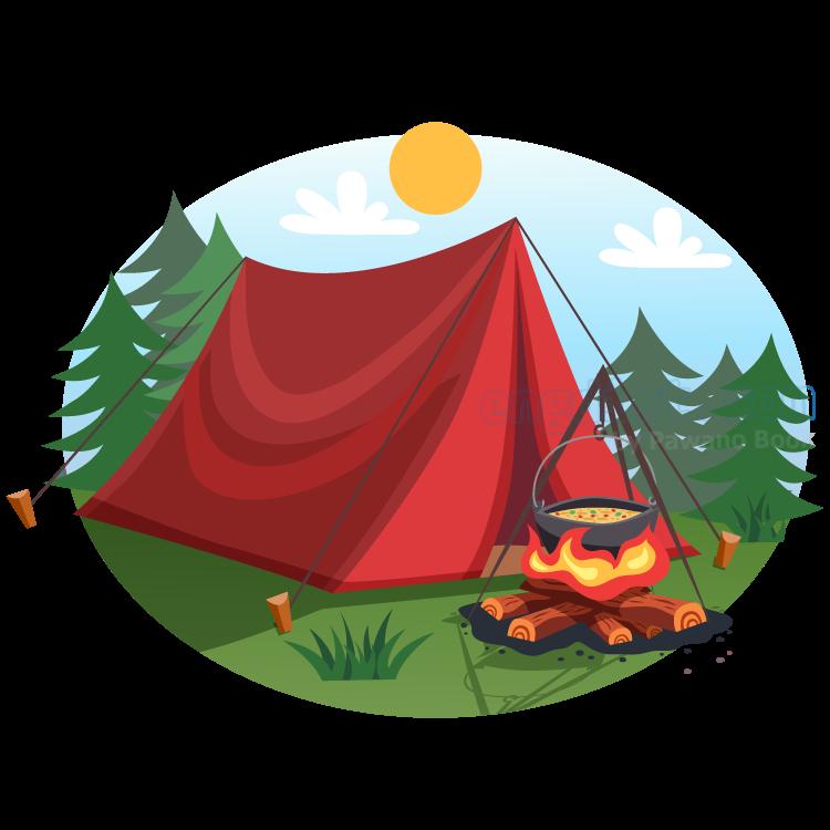 campfire แปลว่า กองไฟที่ก่อขึ้นกลางแจ้งโดยผู้ตั้งแคมป์