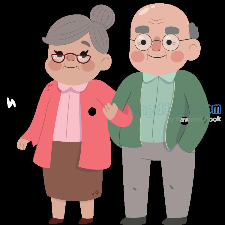 grandparents แปลว่า ปู่,ย่า,ตา,ยาย