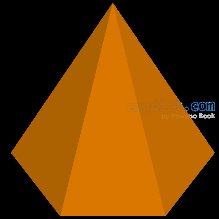 hexagonal pyramid แปลว่า พีระมิดหกเหลี่ยม