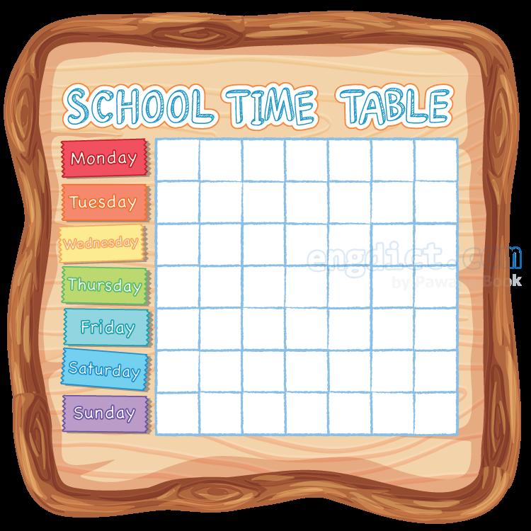 timetable แปลว่า ตารางเวลา